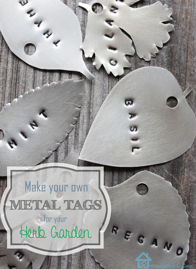 Metal tags for herb garden