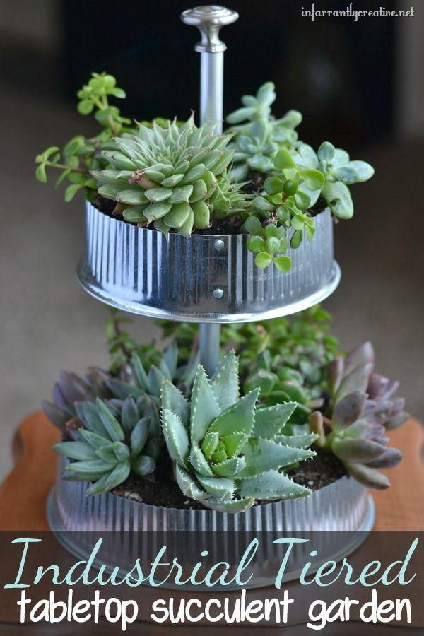 Industrial Tiered Tabletop Garden