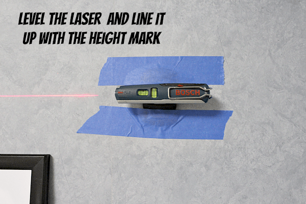 Level the laser and line it up with the height mark