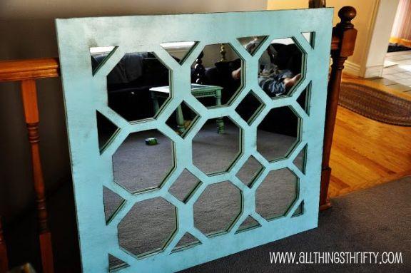 DIY Unique Turquoise Mirror | 30 Amazing DIY Mirrors