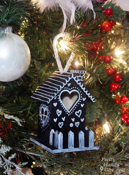 Chalkboard Birdhouse on Christmas Tree   Pretty Handy Girl