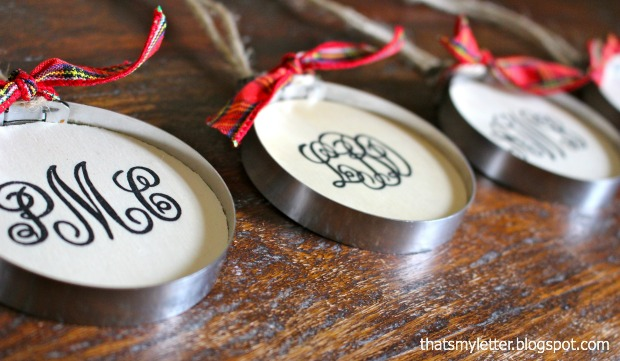 red hand painted monogrammed ornaments