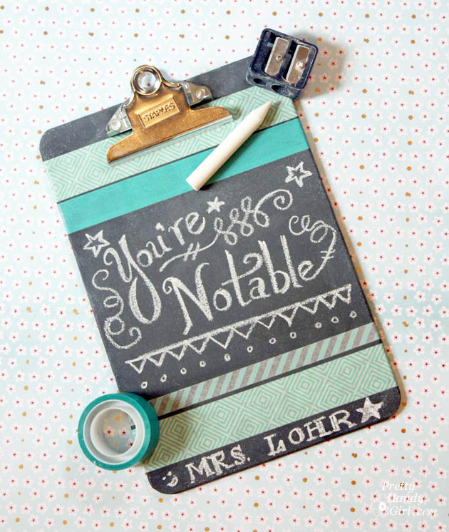 chalkboard paint projects - decorated chalkboard washi clipboard