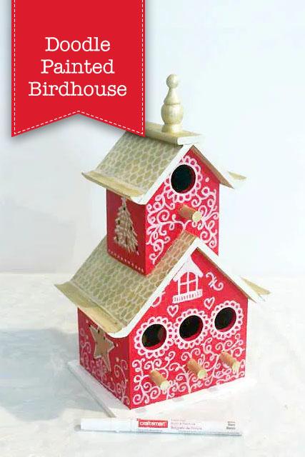 Doodle Painted Birdhouse