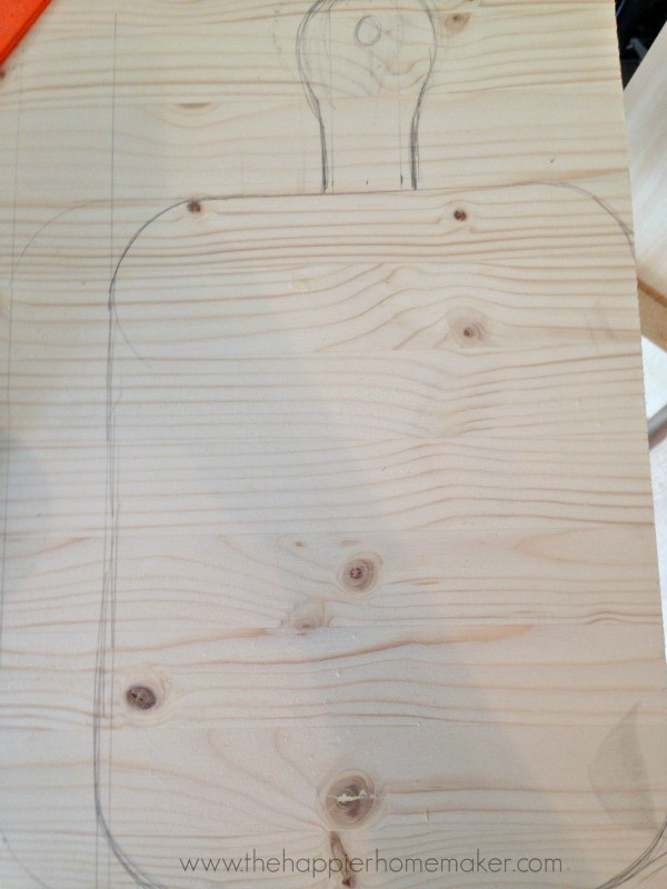 sketching cutting board outline