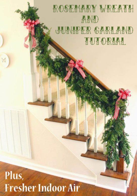 DIY Rosemary Wreath & Juniper Garland | Pretty Handy Girl