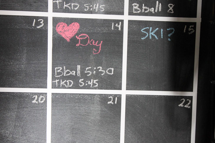 close up chalkboard calendar day