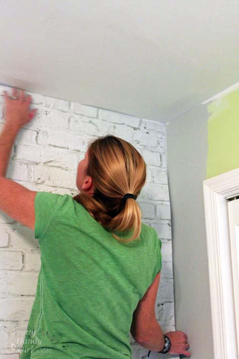 Installling Brick Mural Wallpaper | Pretty Handy Girl