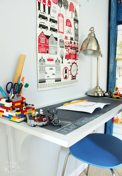 chalkboard paint vertical wall mounted desk