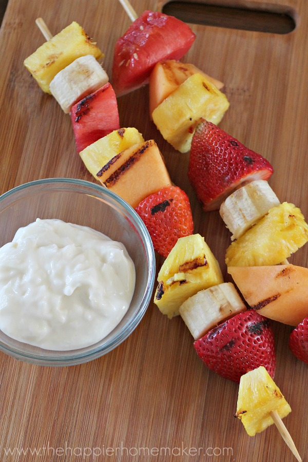 grilled fruit with coconut honey dip