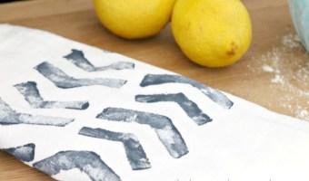 DIY Block Print Stamped Tea Towel