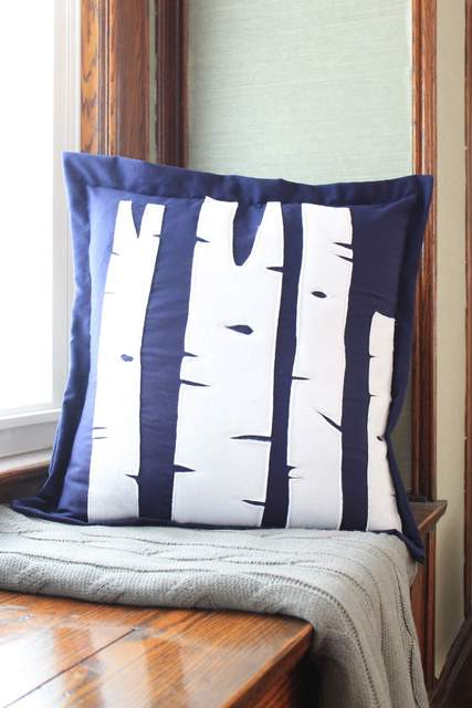 easy sewing projects to help you learn to sew - birch tree pillows
