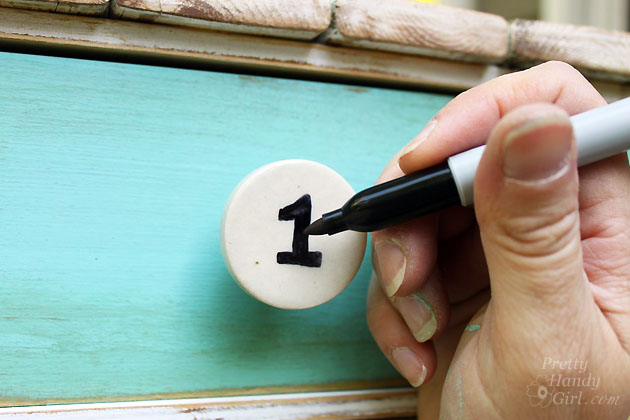 Using Sharpie to Number Drawer Knobs | Pretty Handy Girl