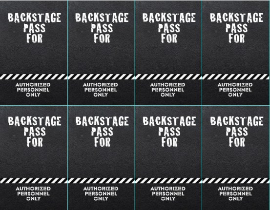 Backstage passes for Rock n' Roll Birthday Party | Pretty Handy Girl