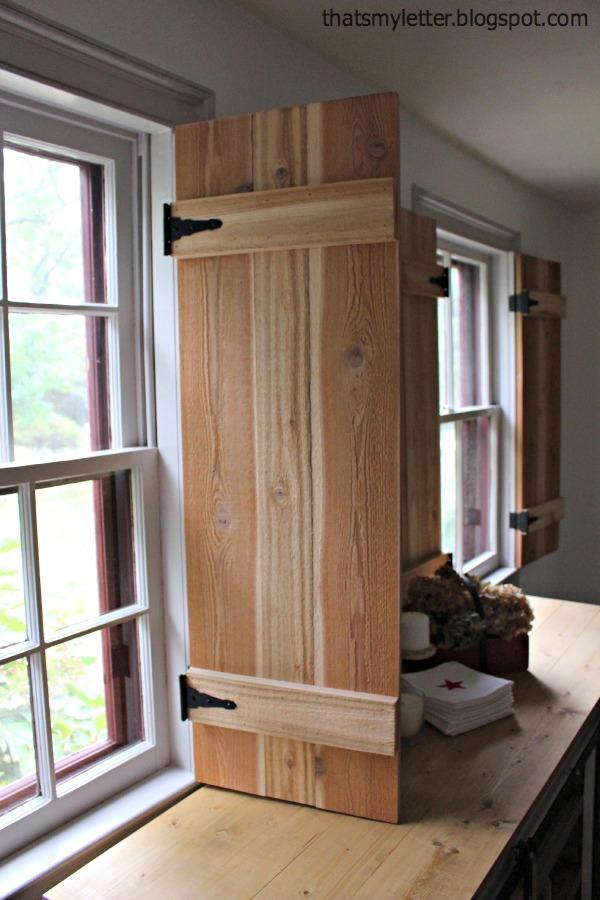 interior cedar shutters partial open