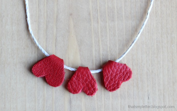 leather hearts necklace 3