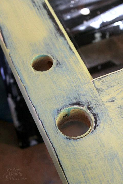 door knob holes in door metal patina
