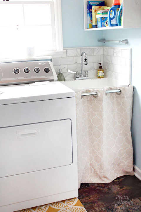 Hidden Storage Under Laundry Room Sink