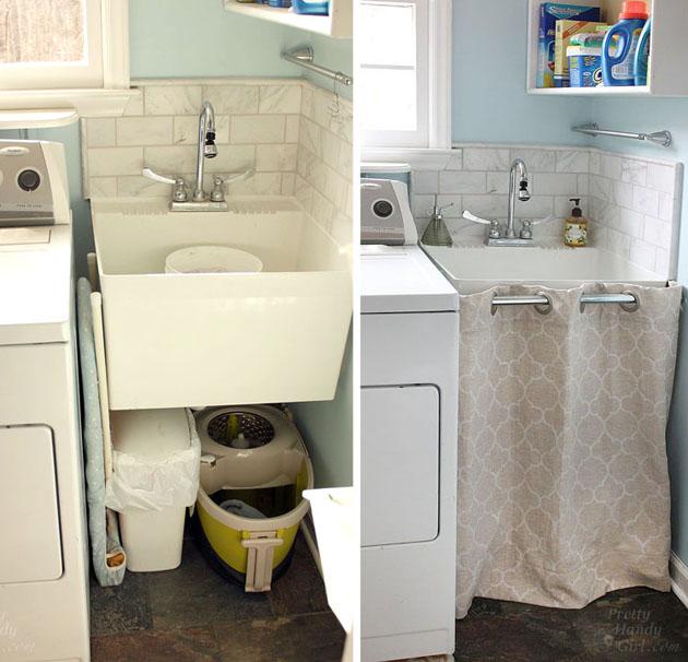 hidden storage under a laundry room sink