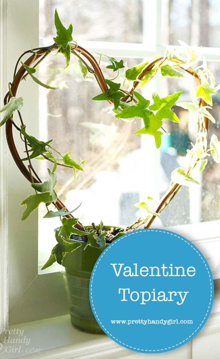 Check out this tutorial from Pretty Handy Girl and see how easy it is to create a heart shaped topiary. Keep it for yourself or give it to the one you love. | Non-candy Valentine's Day gifts | #prettyhandygirl #Valentinesday #DIYtopiary #plant