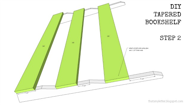bookshelf tapered step 2 plans