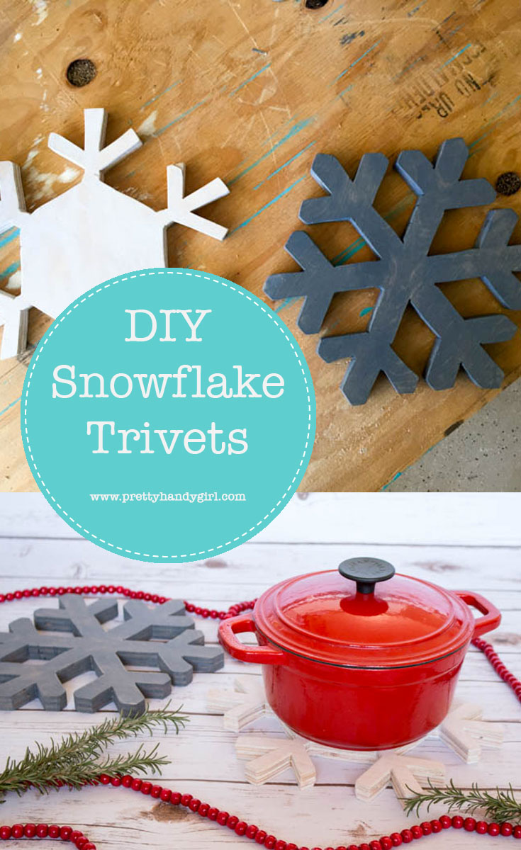 Add holiday charm to your kitchen with these simple and pretty DIY snowflake trivets | DIY holiday home decor | Pretty Handy Girl #prettyhandygirl #DIY #holidayhome