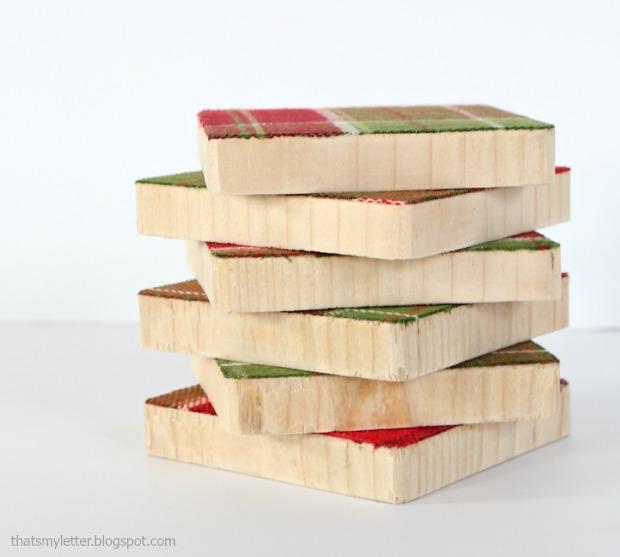 fabric & wood coasters 1