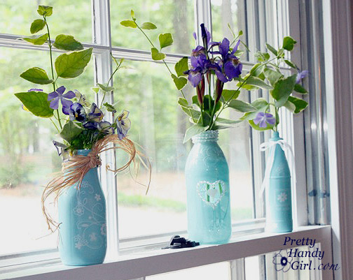 Spraypainted Bottle Vases