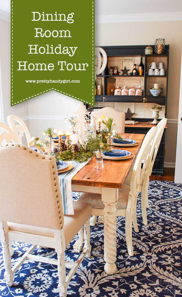 Add holiday charm to your dining room with these holiday home decor ideas from Pretty Handy Girl | holiday dining room | dining room decor #prettyhandygirl #holidayhome #holidaydiningroom #diningroom #holidaydecor