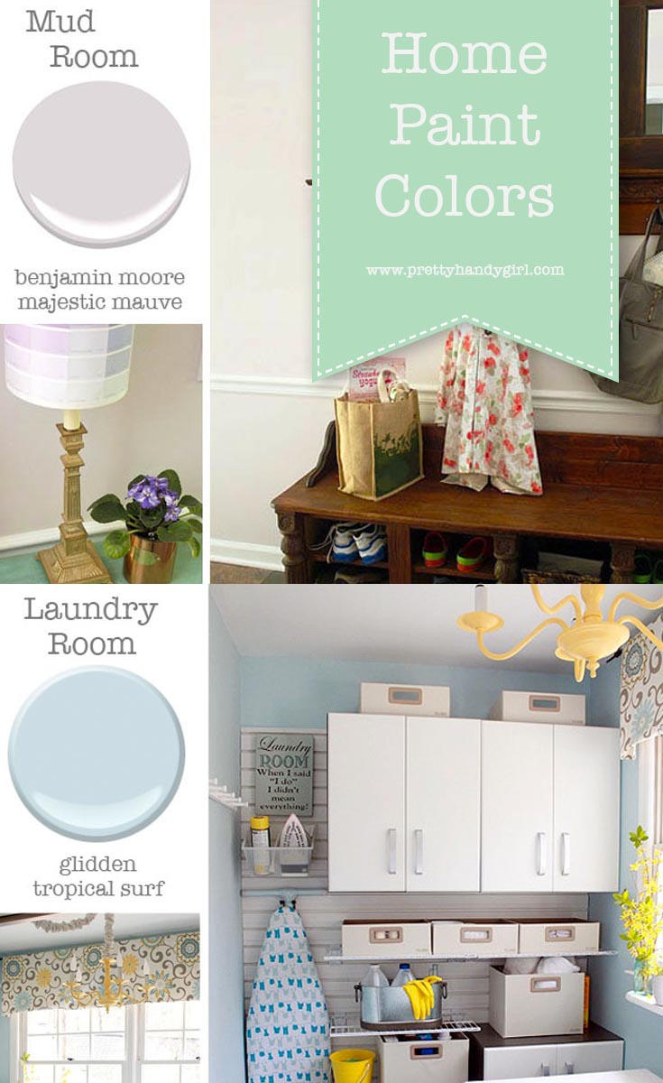 Questions on home paint colors? Pretty Handy Girl shares all the details on the paint colors in her home   Home Paint Color Scheme #prettyhandygirl #paintcolors #homepaintcolors