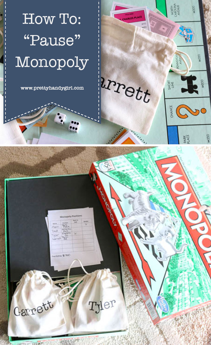 No need to ruin family game night with this Monopoly hack that allows you to easily pause the game and pick up again later! | Pretty Handy Girl #DIY #gamenight #Monopoly