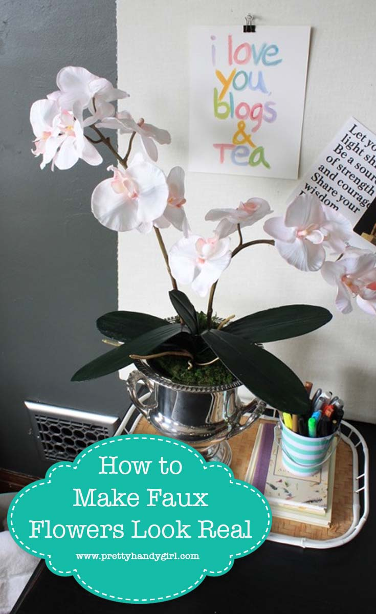 Check out this great way to get the look of real greenery with fauxflowers!   Pretty Handy Girl #prettyhandygirl #fauxflowers #homedecor #crafttutorial