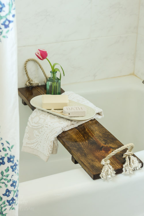 Rustic Wood Bathtub Tray by Pretty Handy Girl