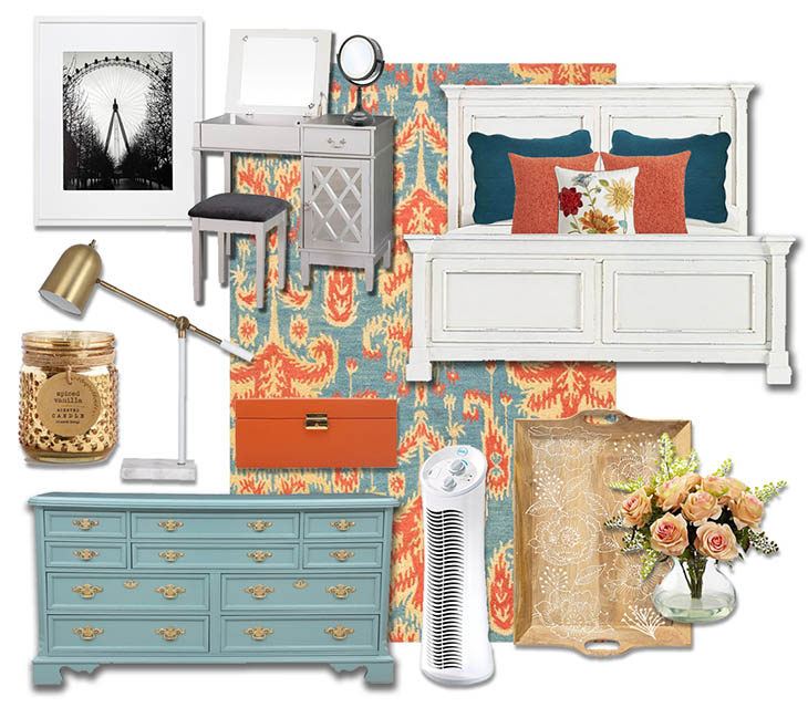 Colorful Farmhouse Chic Master Bedroom | Shop this look