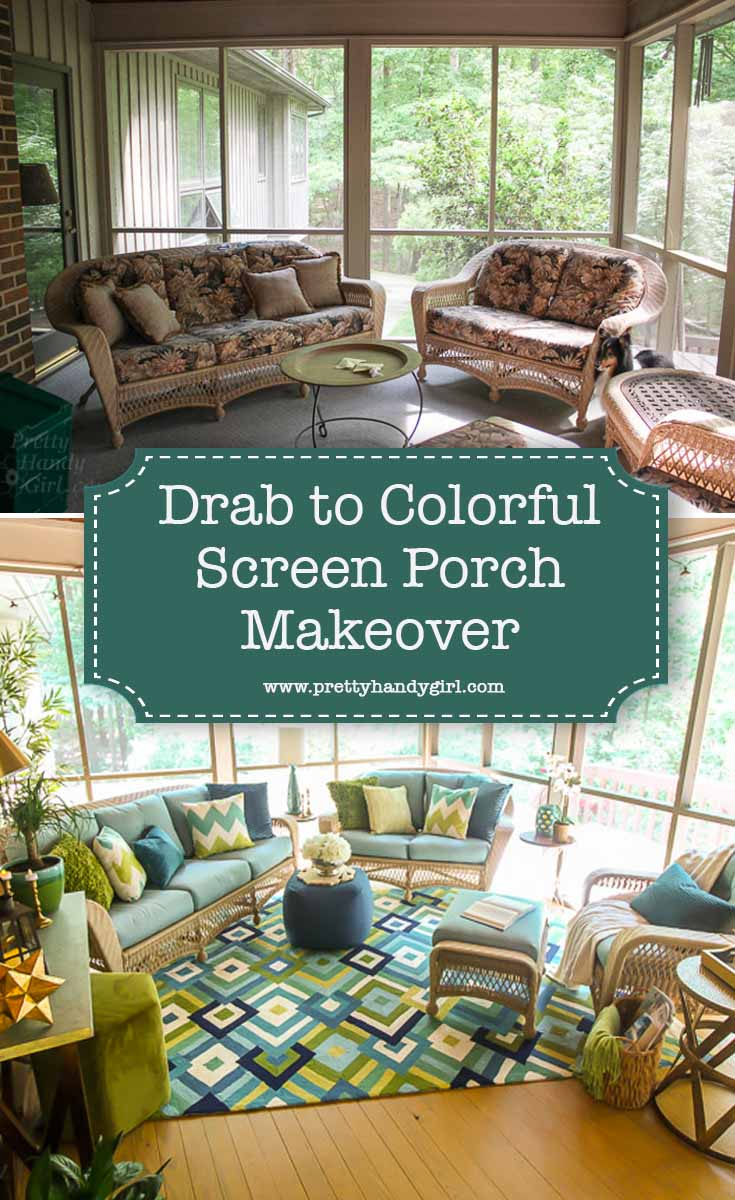 Take your screen porch from drab to colorful with these simple and easy porch decor ideas! | Colorful home decor | Porch decor ideas | Pretty Handy Girl #prettyhandygirl #homedecor #porchdecor