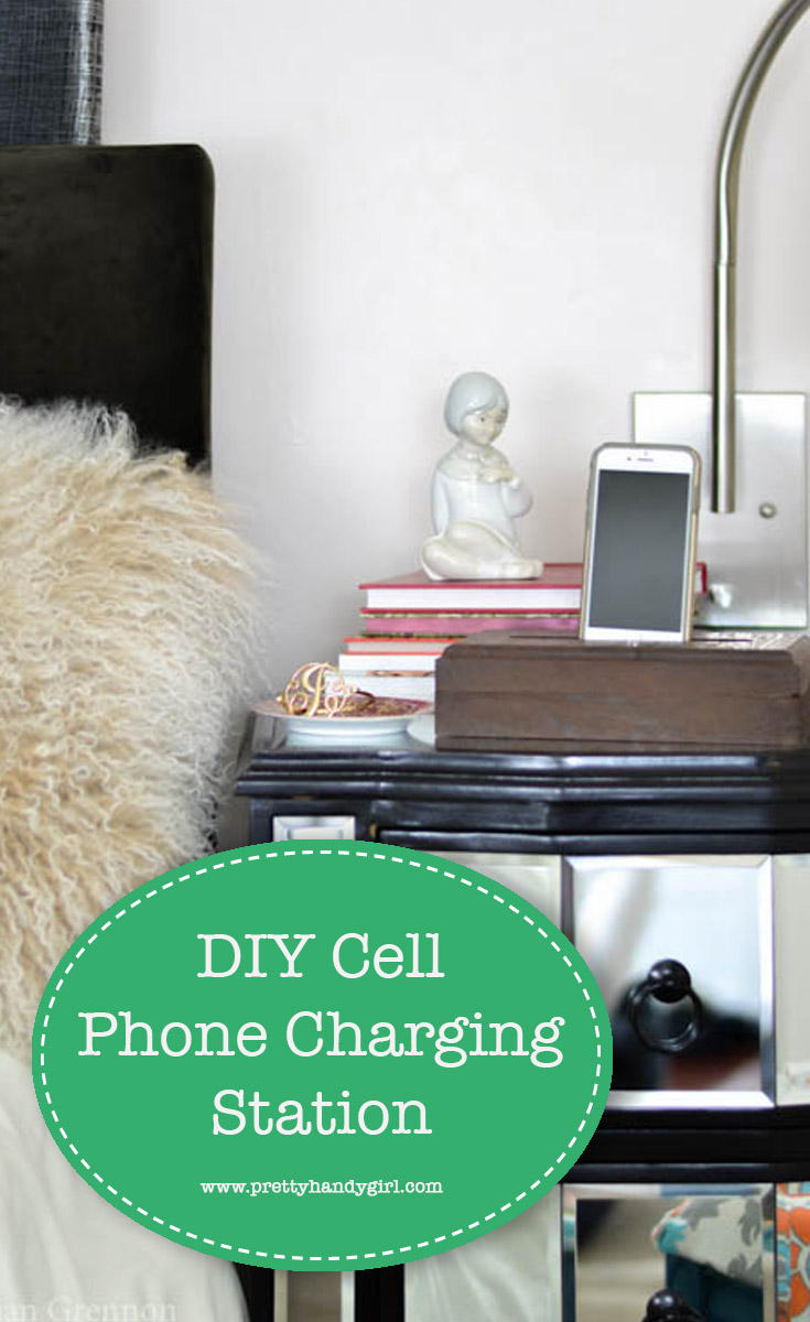 Follow along with this easy tutorial on how to make a simple DIY cell phone holder and charging station. | DIY cell phone charger | Pretty Handy Girl #prettyhandygirl #DIY #chargingstation #cellphonecharger
