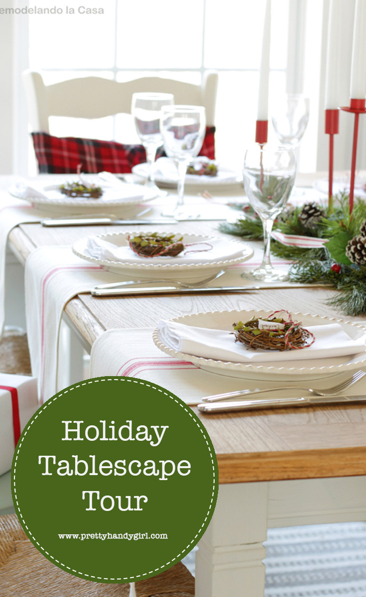 Find holiday table decor ideas and inspiration with this tablescape tour from Pretty Handy Girl | Holiday tablescape #prettyhandygirl #holidaytable #holidayhome