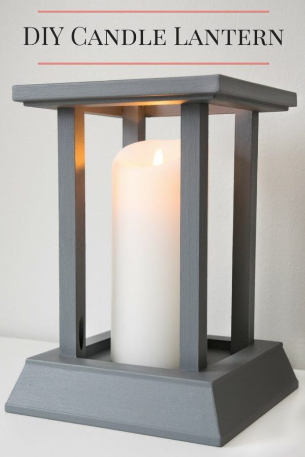This DIY candle lantern was easy to make with leftover trim!