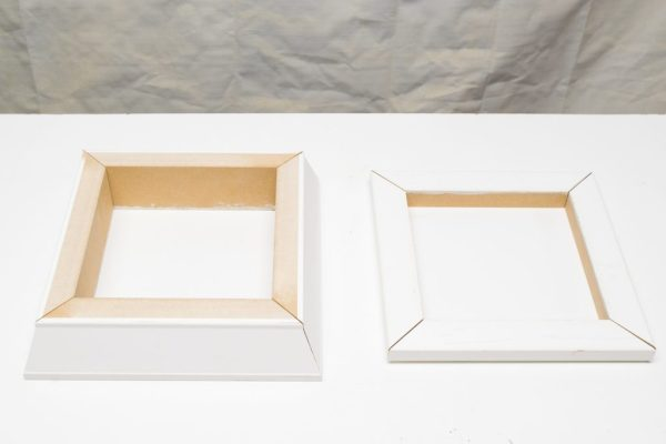 Miter the corners of your base and top pieces to create two squares.