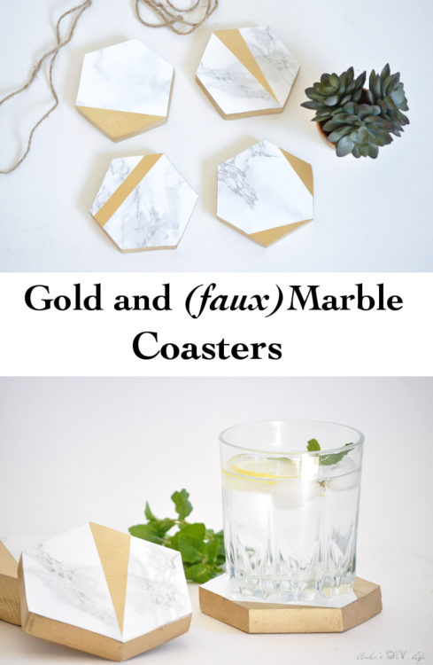 Gold and Marble coasters | Scrap wood | contact paper