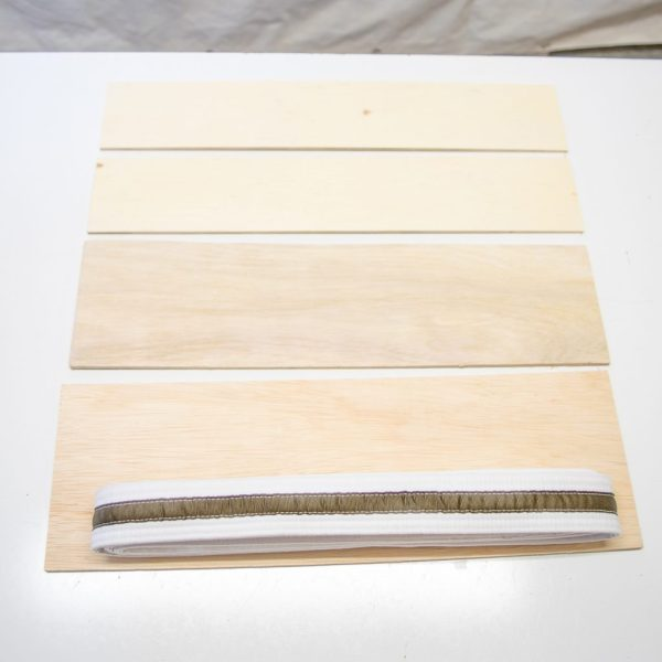 Measure your folded belt against the plywood to determine what size to cut.