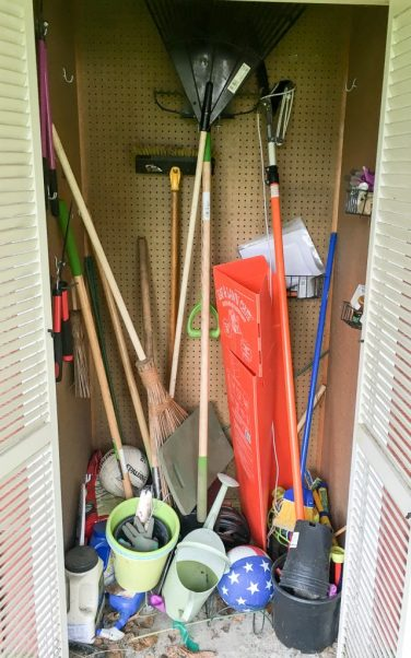 Our garden tool shed was a disaster! But with my new hanging garden tool organizer, small tools each have their own space.