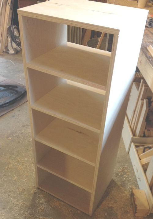 Assembled shelves and sides of linen cabinet