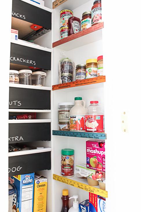 vintage ruler stops for narrow pantry shelves