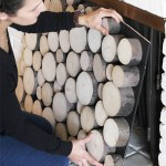 Wood Slice Fireplace Draft Stopper