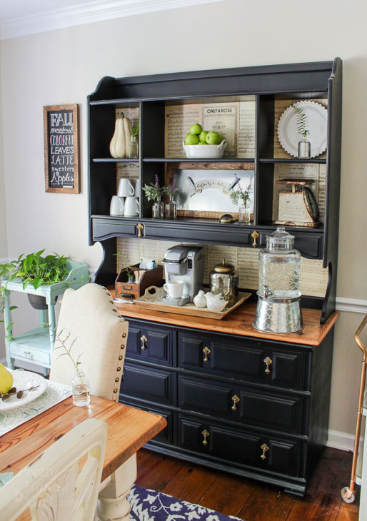 black hutch with coffee bar set up