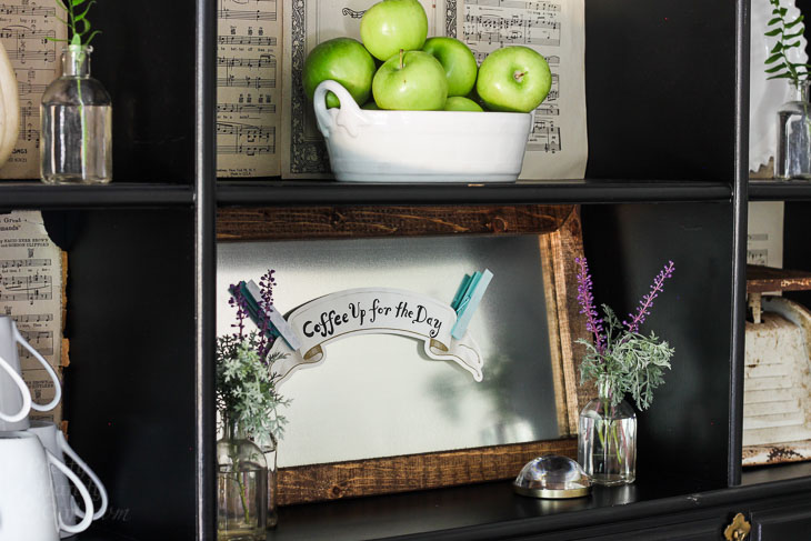 apples and zinc framed magnetic board