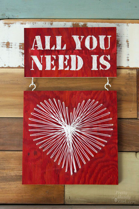 valentine string art all you need is love wood art