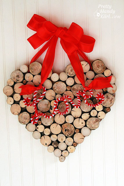 valentines wreath branches close up wood heart wreath