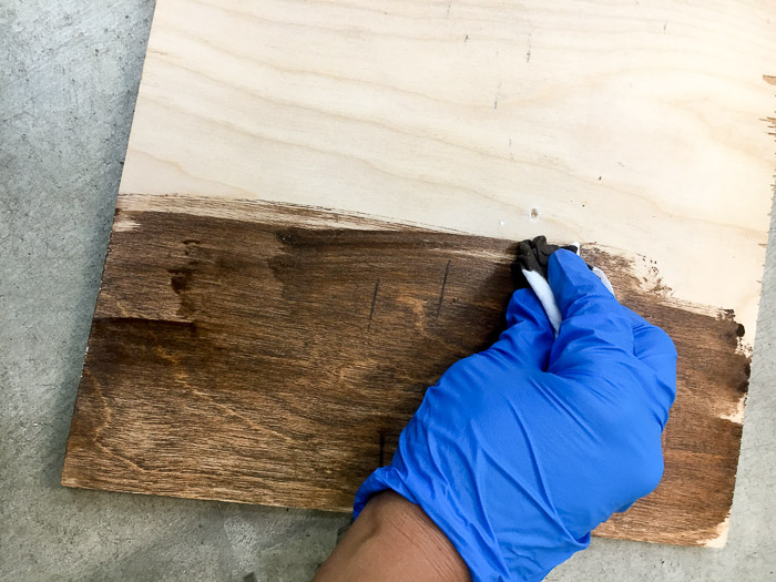 Stained plywood for a metal and wood industrial frame